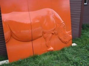 Rhino Mold painted in oil orange