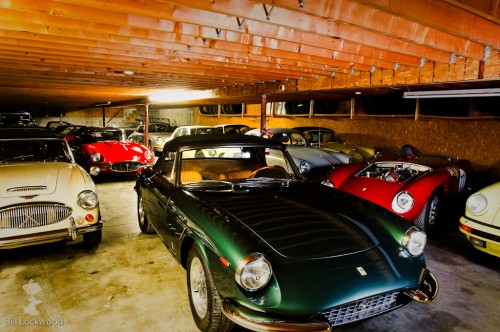 Downstairs: The rare green 330 GTC and a deep inventory of stored classics, projects, and restorations.