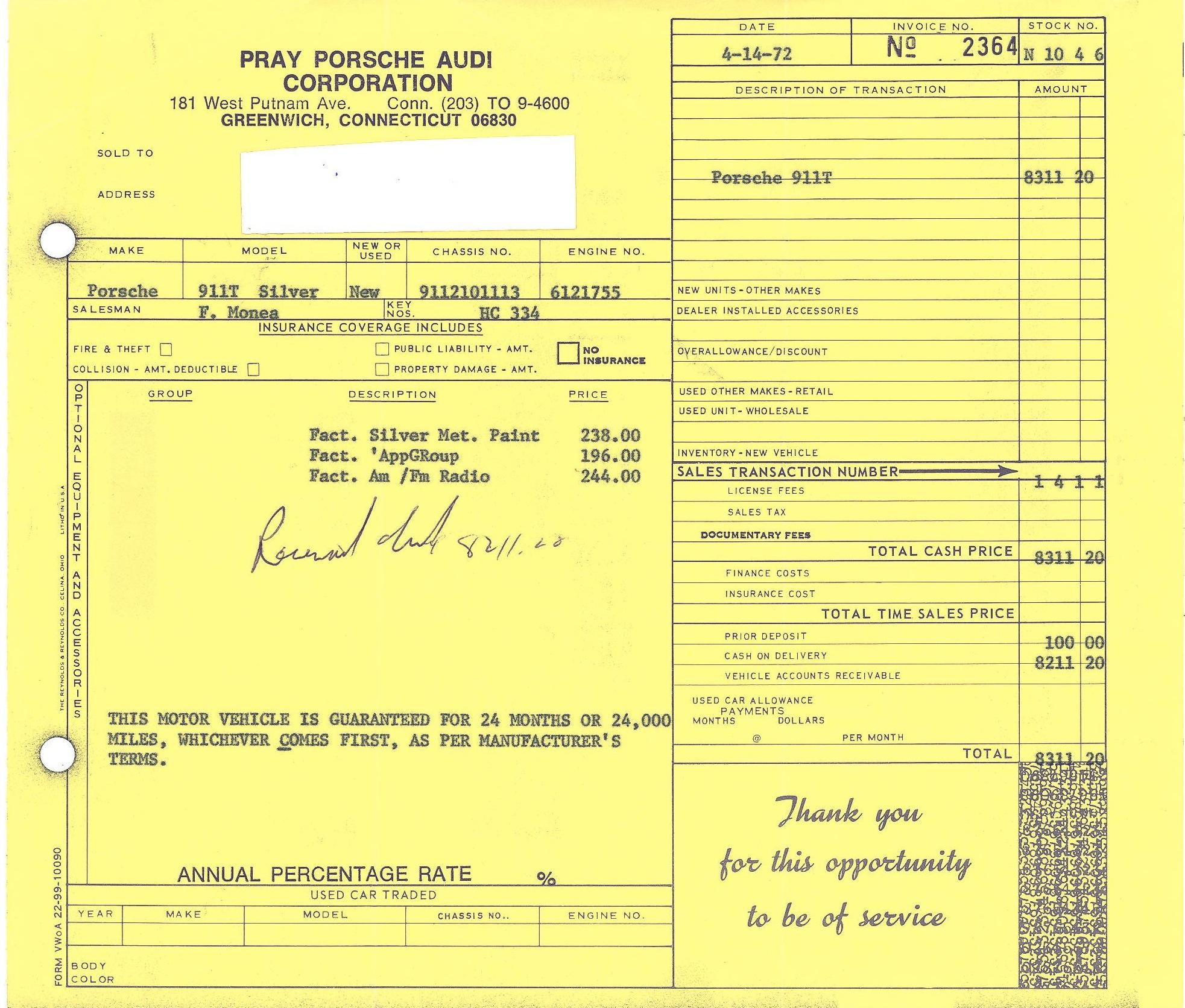 911 Ferrari Craft 1972 Porsche Wiring Harness Invoice For A 911t