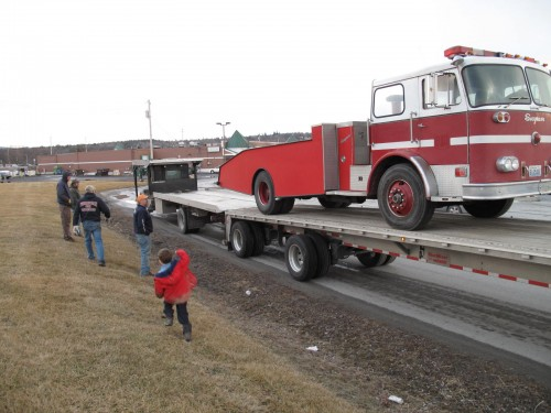 Fire truck turned car hauler