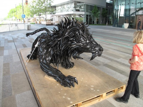 Shredded tire sculpture
